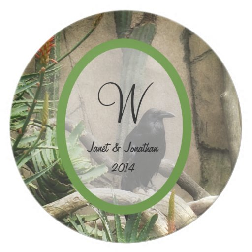 Black Crow Monogram Party Plate