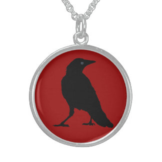 Black Crow on Dark Red Sterling Silver Necklace