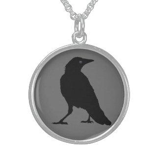 Black Crow on Gray Round Pendant Necklace