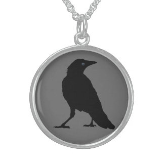 Black Crow on Gray Sterling Silver Necklace
