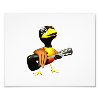 Black crow playing guitar graphic art photo