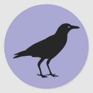 Black Crow Purple Halloween Classic Round Sticker