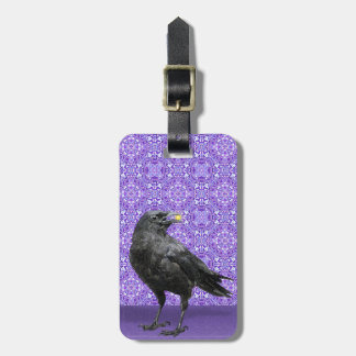 Black Crow, purple pattern luggage tag