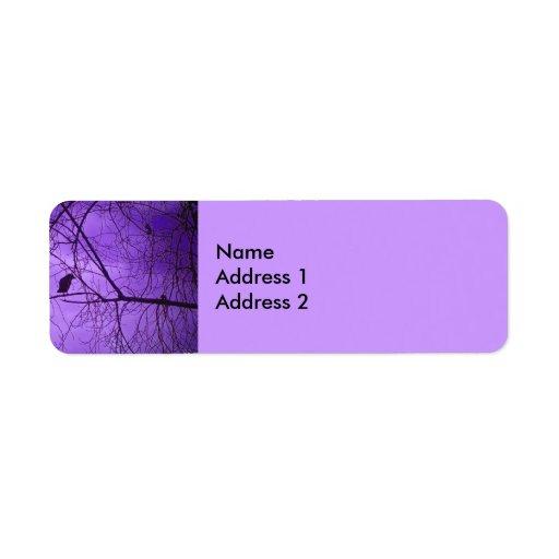 Black Crow Purple Sky Return Address Labels
