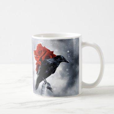 Coffee Themed Black Crow Raven Red Rose Bird Gothic Coffee mug