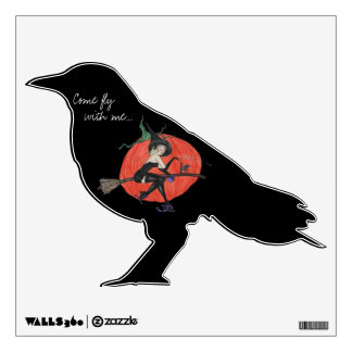 Black Crow with Witch and pumpkin image Halloween Wall Decal