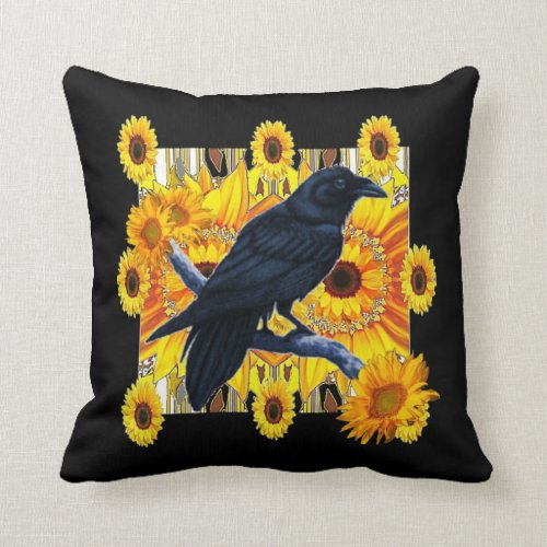 BLACK CROW & YELLOW SUNFLOWERS ABSTRACT ART THROW PILLOW