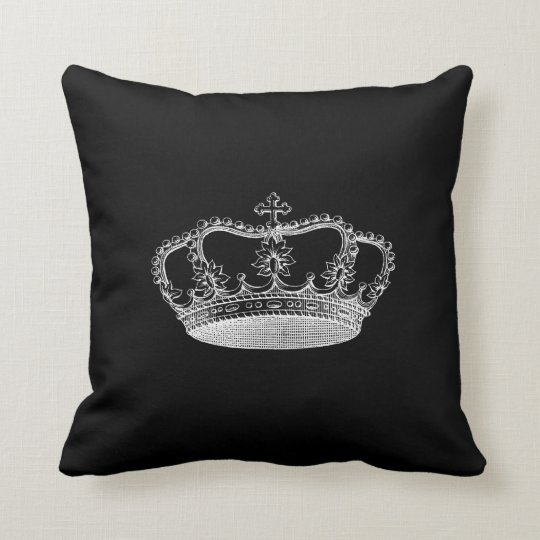 Throw Pillows 20 X 20 : Black Crown (B) Throw Pillow 20
