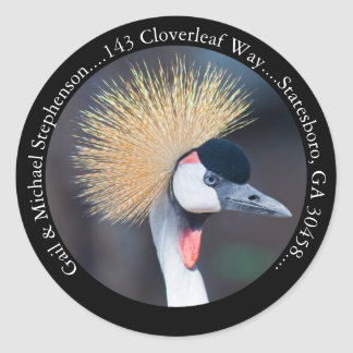 Black Crowned Crane Black Return Address Classic Round Sticker