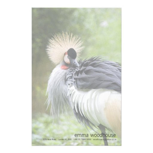 Black Crowned Crane Stationery Paper