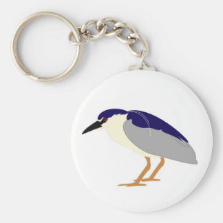 Black crowned night heron basic round button keychain