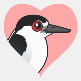 Black-crowned Night Heron Heart Sticker