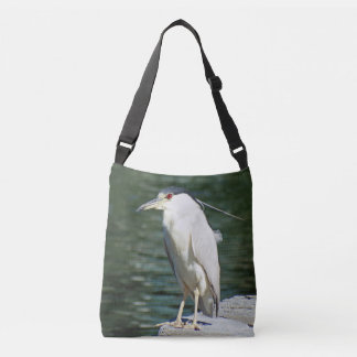 Black Crowned Night Heron Looking For A Meal Crossbody Bag