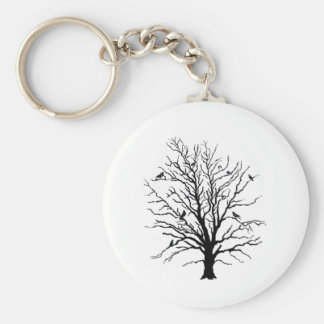 Black Crows Gathering in Tree Key Chain