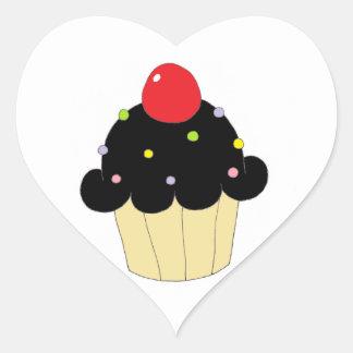Black Cupcake Heart Sticker