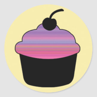Black Cupcake with Colorful Gradient Icing Classic Round Sticker