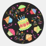 Black Cupcakes and Cake Happy Birthday Stickers