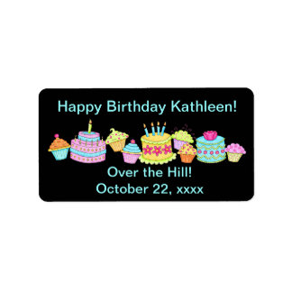 Black Cupcakes /Cake Over the Hill Birthday Custom Address Label