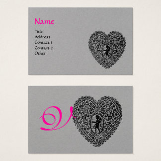BLACK CUPID LACE HEART MONOGRAM Pink Grey Paper Business Card