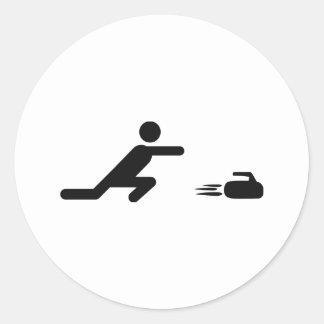 black curling icon classic round sticker