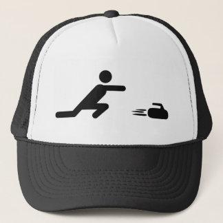 black curling icon trucker hat