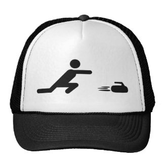 black curling icon trucker hat