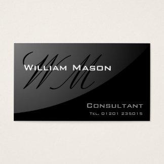 Black Curved Monogram - Professional Business Card