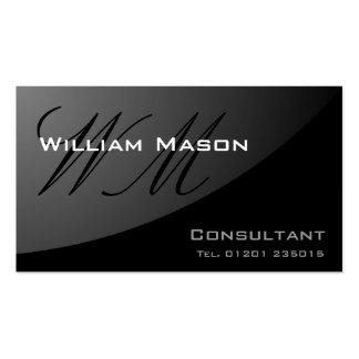 Black Curved Monogram - Professional Business Card