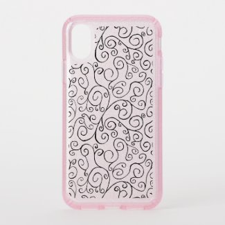 Black Curvy Abstract Scroll Pattern Glitter Speck iPhone Case