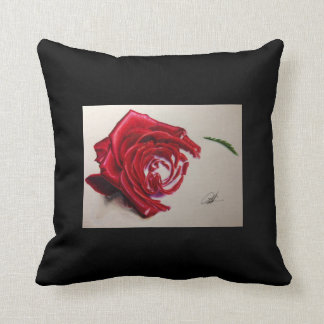 Black cushion With Drawing of Rosa
