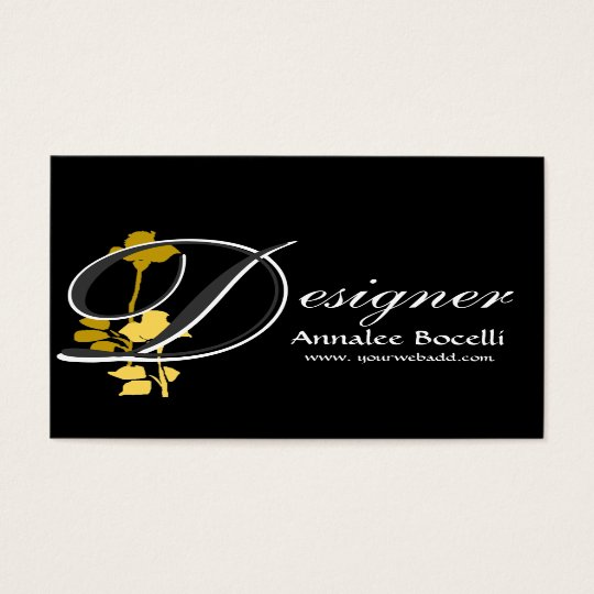 Black Custom Background Cool Yellow Rose Floral Business Card