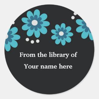 Black Custom Bookplates - Blue Flowers Classic Round Sticker