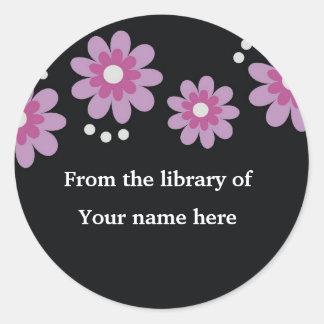 Black Custom Bookplates - Lavender Flowers Classic Round Sticker