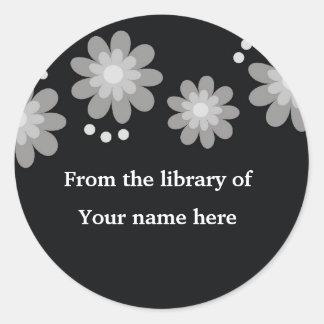 Black Custom Bookplates - Silver Grey Flowers Classic Round Sticker