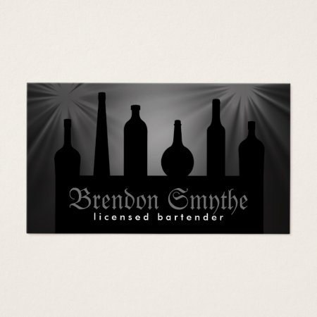 Classy Gray and Black Silhouettes of Alcoholic Liquor Bottles Bartending Services, Bartender, Pub, Bar or Bottle Shop Business Cards