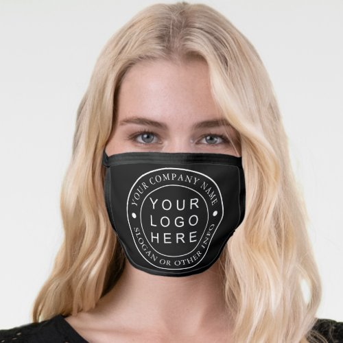 Black Custom Company Business Logo Face Mask