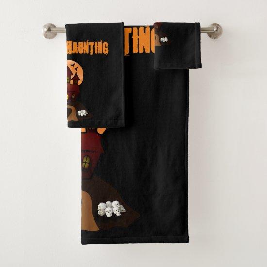 Black Custom Decorative Haunted House Towel Set