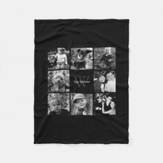 Black Custom Family Photo Collage Fleece Blanket
