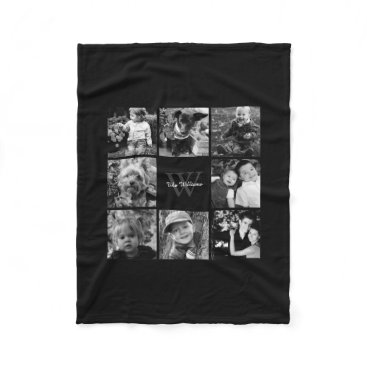 heartlocked Black Custom Family Photo Collage Fleece Blanket