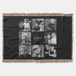 Black Custom Family Photo Collage Throw Blanket