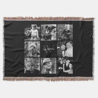 Black Custom Family Photo Collage Throw Blanket
