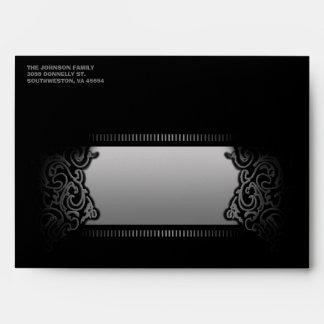 Black Custom Halloween Envelope Maroon Inside