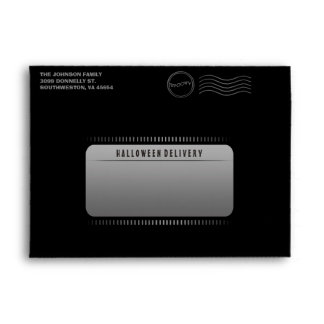 Black Custom Halloween Invitation Envelope Skull
