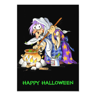 Black Custom Happy Halloween Cards With Witch