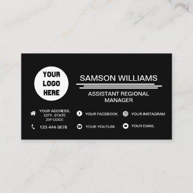 Black Custom Logo Minimalist Social Media Icons Business Card