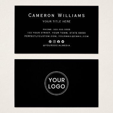 Black custom logo social media business cards