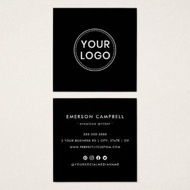 Black custom logo social media icons business card