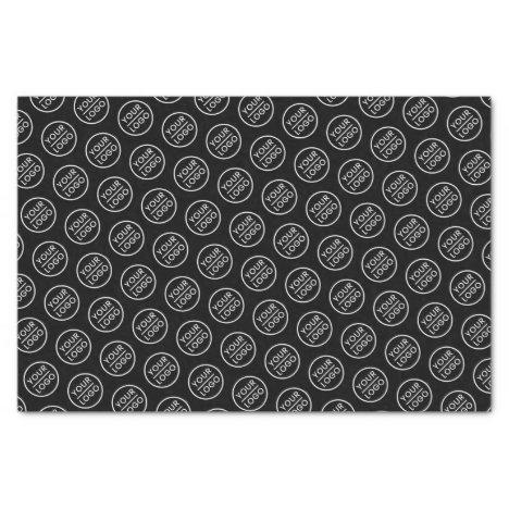 Black custom logo tissue paper business packaging