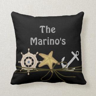 BLACK CUSTOM NAUTICAL STARFISH Anchor, Ship Pillow