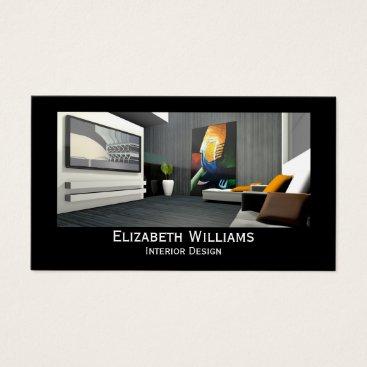 Professional Business Black Custom Photo Interior Design Business Card